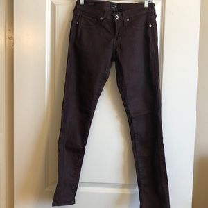 LUCKY Brand Coated Maroon Charlie Skinny Jeans